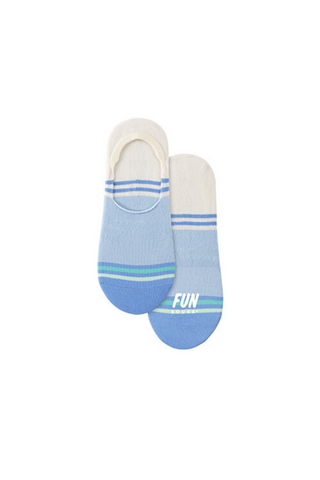 Fun Socks Striped Shoe Liner - Blue Combo