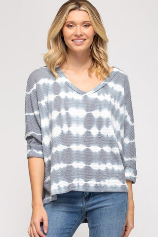 Sophie Thermal Tie-Dye Top, Grey