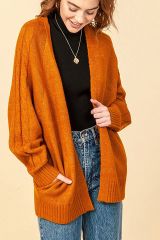 Monia Cable Cardigan, Cinnamon