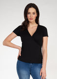 Leah Ribbed Wrap Top, Black