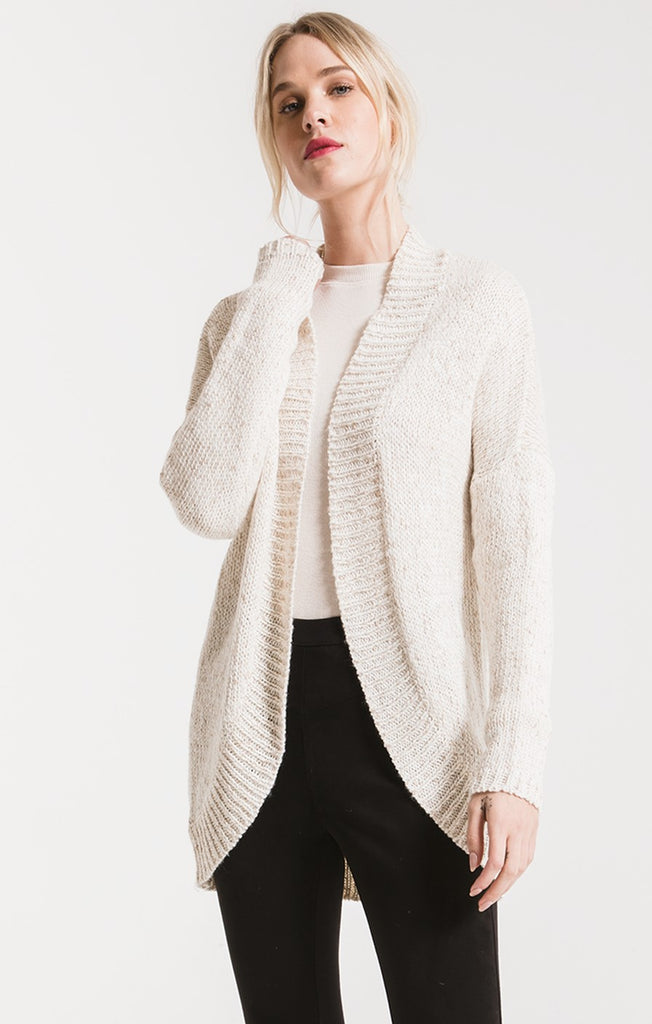 NOBLE KNIT CARDIGAN SWEATER BY RAG POETS In Winter White
