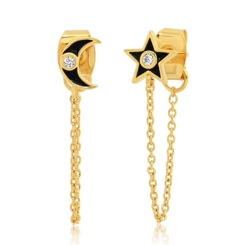 Moon & Star Chain Earrings, Black