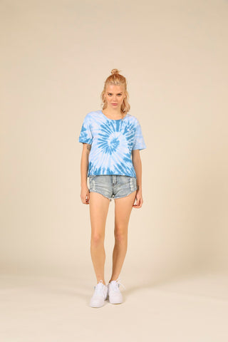 Boxy Cropped Tee - Nautical Swirl