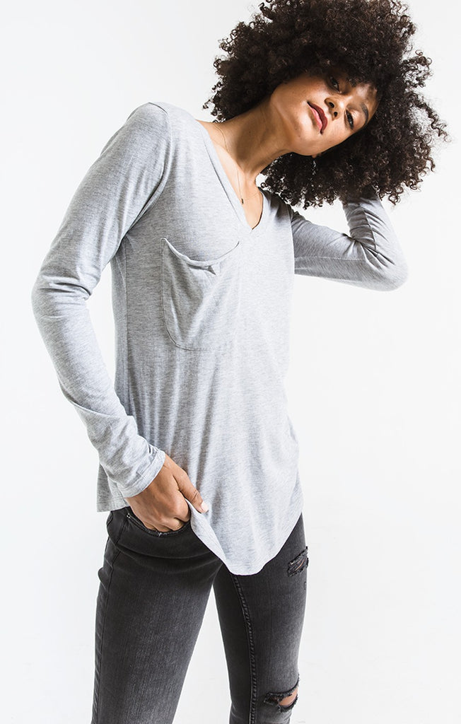 Z Supply The Long Sleeve Pocket Tee In Heather Grey