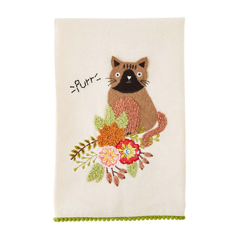 Purr Embroidered Towel