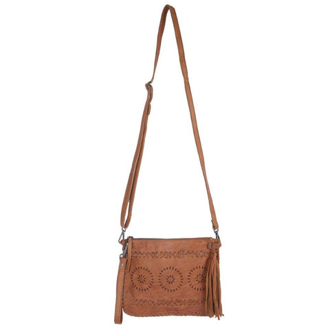 90 Degrees Leather Bag, Tan