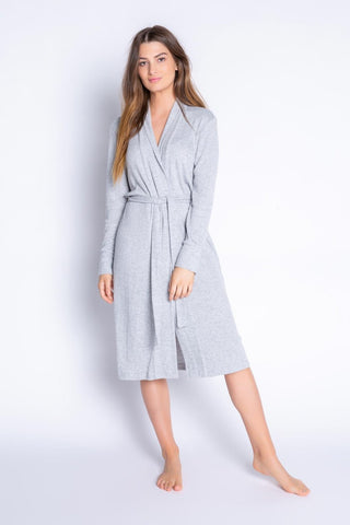 Textured Basics Robe, Heather Grey