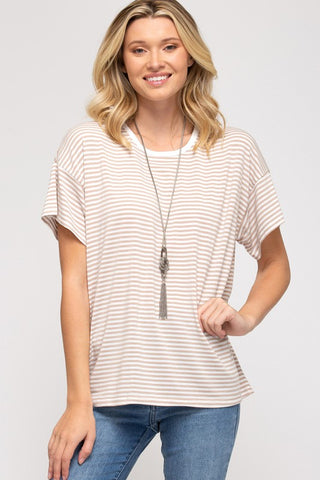 Hailey Striped Top, Taupe