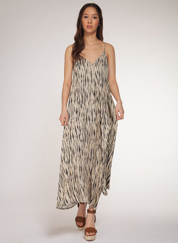 Cami Dress, Taupe Tie Dye Snake