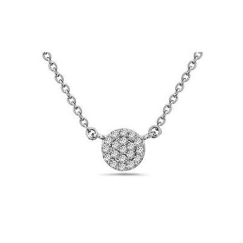 Crystal Pave Silver Disk Necklace