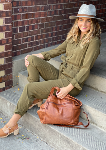 Frenzia Utility Jumpsuit, Washed Clover
