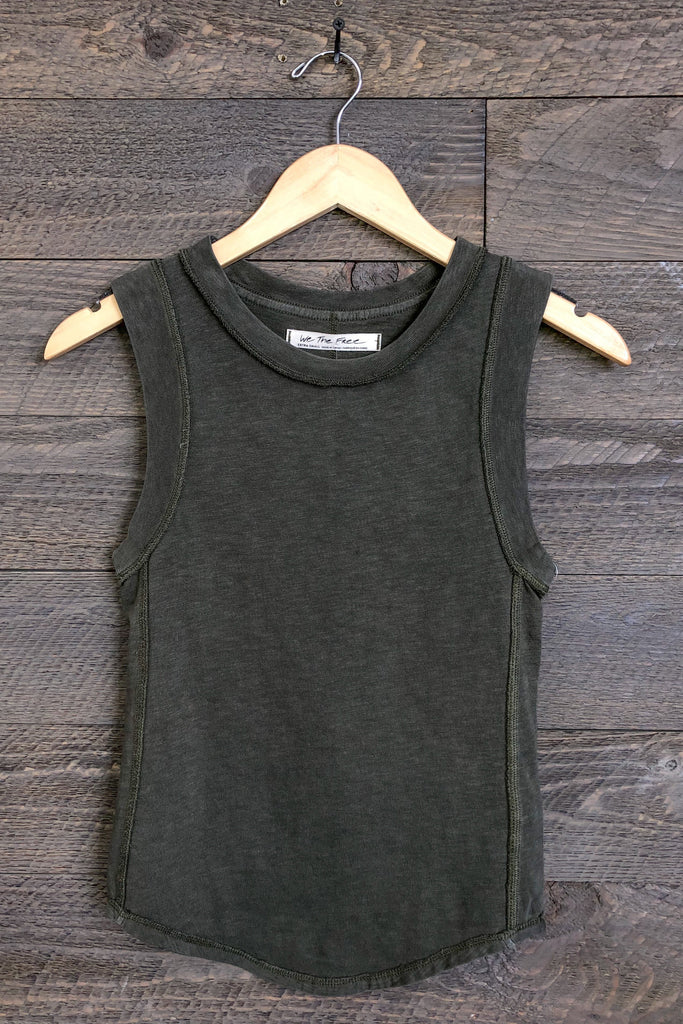 "Free People ""Go To"" Tank Top In Military"