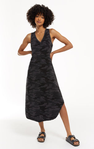 Camo Reverie Dress, Dark Charcoal