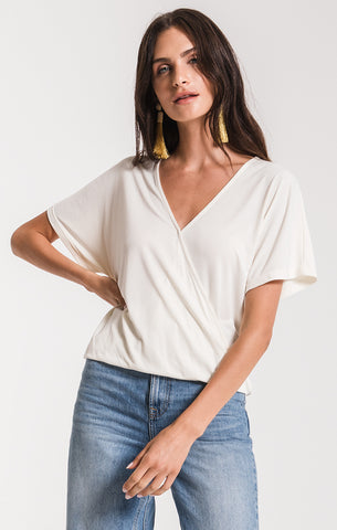 Black Swan Farah Surplice Top In Cream