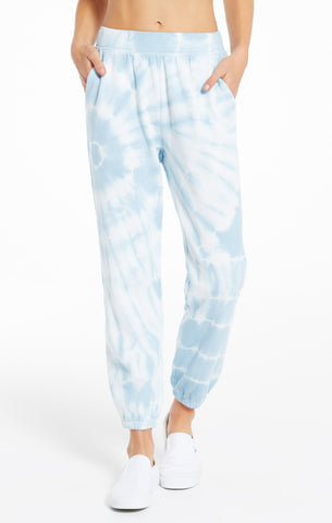 Emery Spiral Tie-Dye Jogger in Blue Agave