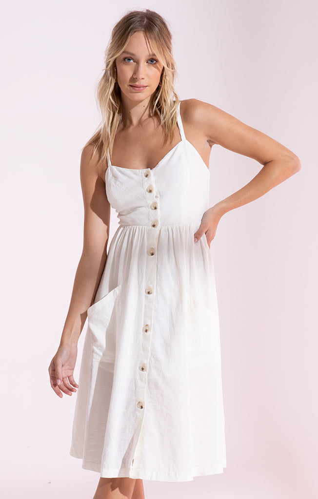 Teagan Button Up Dress In Off White
