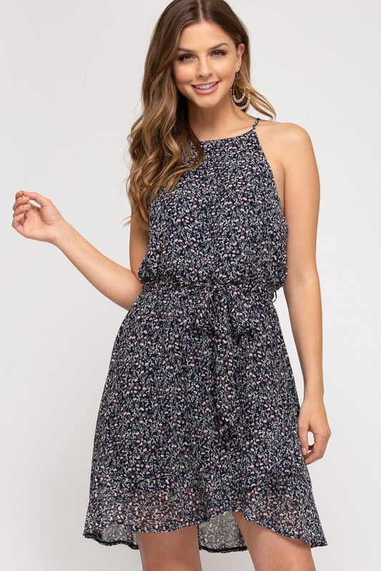 Elsa Print Bubble Dress, Navy