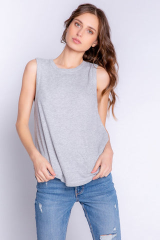 Textured Lounge Tank, Heather Grey