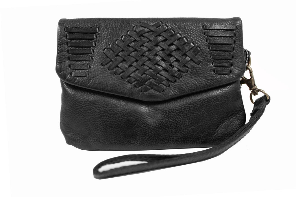 Edith Leather Clutch, Black