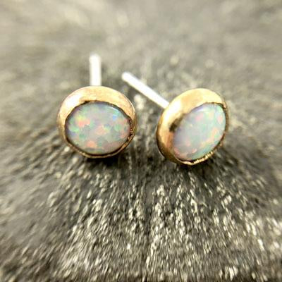 Opal Medium Size Studs, Gold