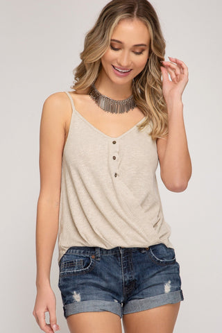 Vera Front Twist Tank In Taupe