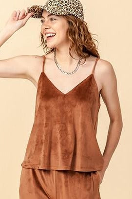 Sol Velour Cami Top, Hazelnut