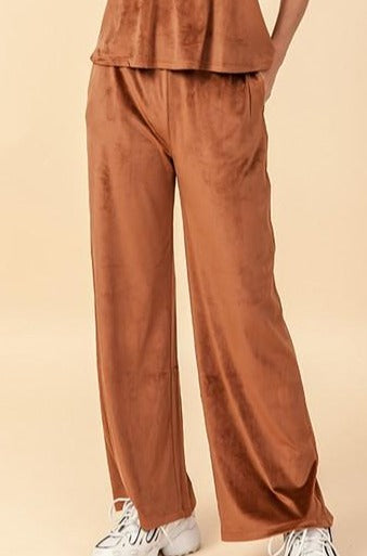 Sol Velour Wide Pants, Hazelnut