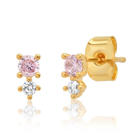 Colored CZ Studs, Pink