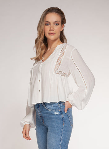 Kara Crochet Insert Blouse, Off White