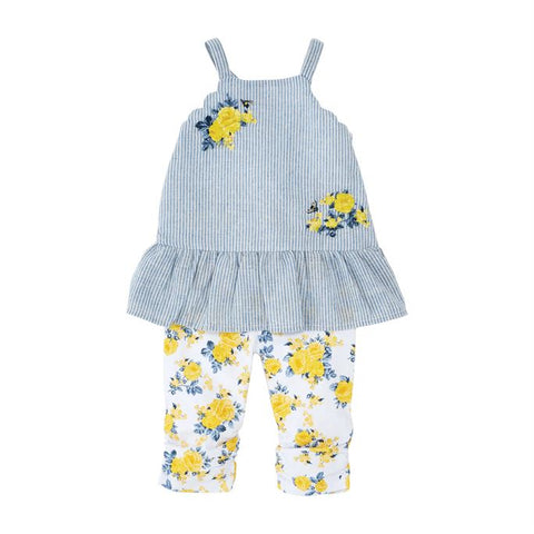 Baby/Kids Floral Stripe Top & Legging Set