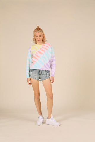 Diagonal Tie-Dye New Burnout Crewneck
