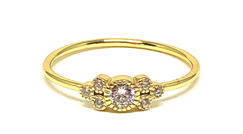 Kathryn Bezel Gold Ring With CZs