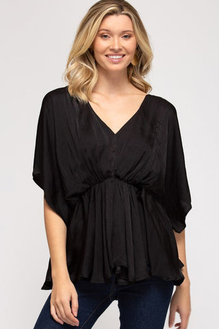 Vita Satin Top, Black