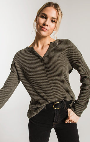 Z Supply THE WAFFLE THERMAL SPLIT NECK TOP In Forest Night