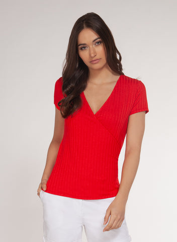 Leah Ribbed Wrap Top, Red