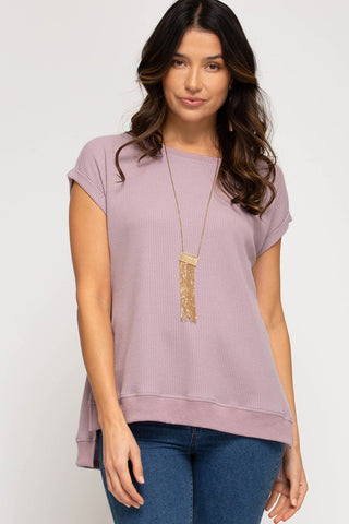 Dina Hi-Low Thermal Knit Top, Mauve