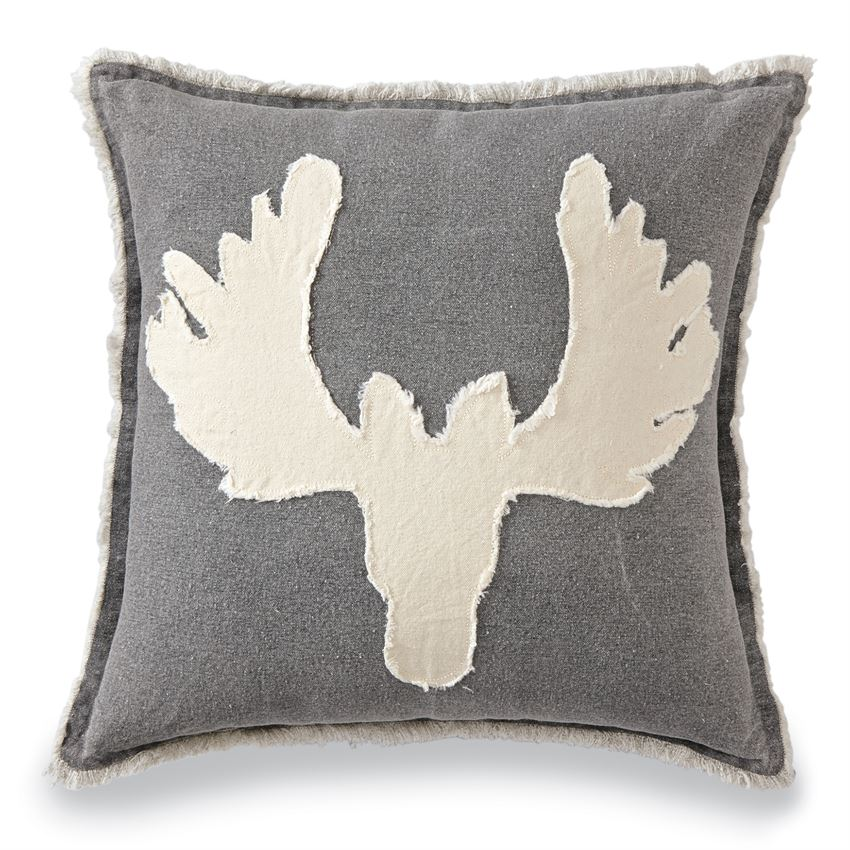 Gray Canvas Moose Pillow