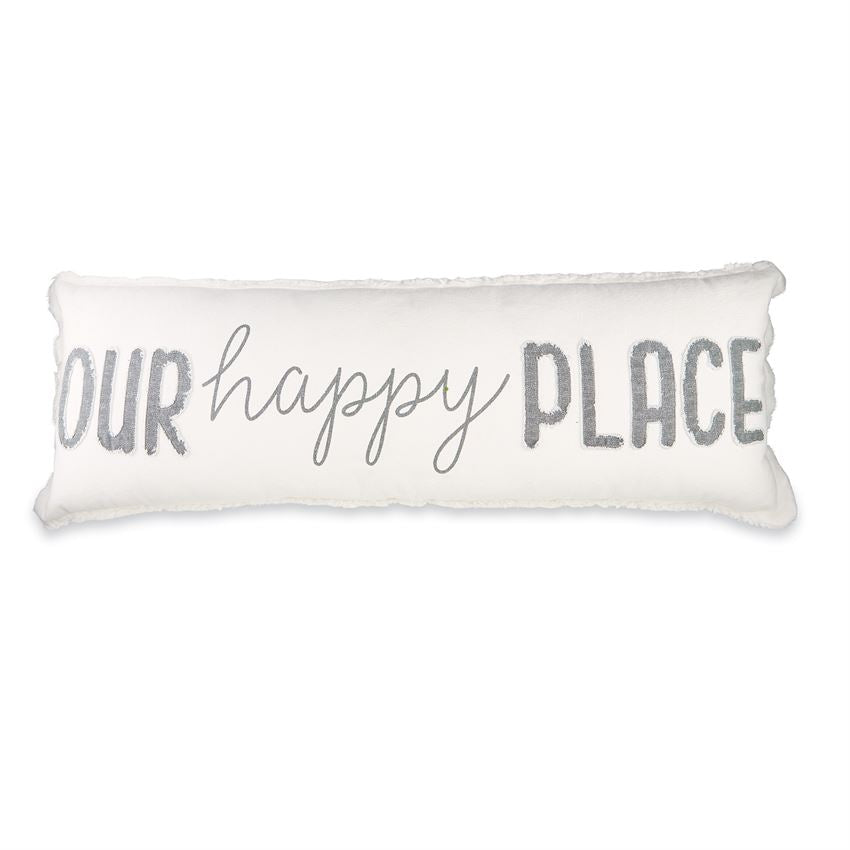 """Our Happy Place"" Canvas Pillow Gray and White"