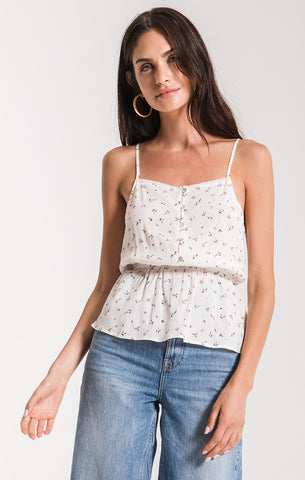 Black Swan Stephi Floral Peplum Top In Pastel Parchment