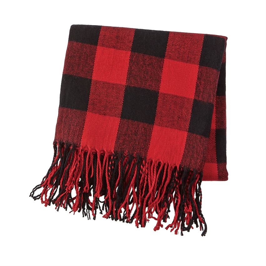 Red Buffalo Check Fringe Blanket
