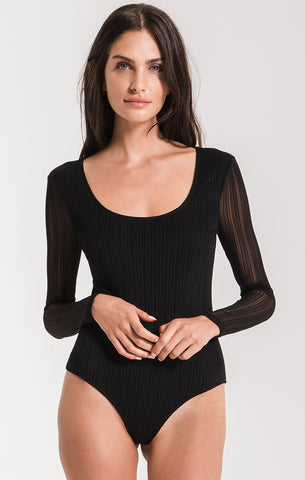 Noele Striped Bodysuit Black Swan