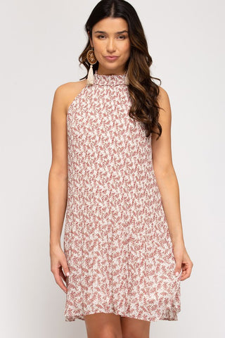 Millie Sleeveless Floral Printed Dress, Cream