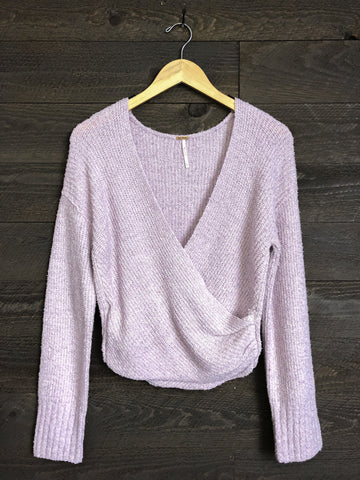 Free People 'Sensual' Wrap Sweater In Soft Lilac