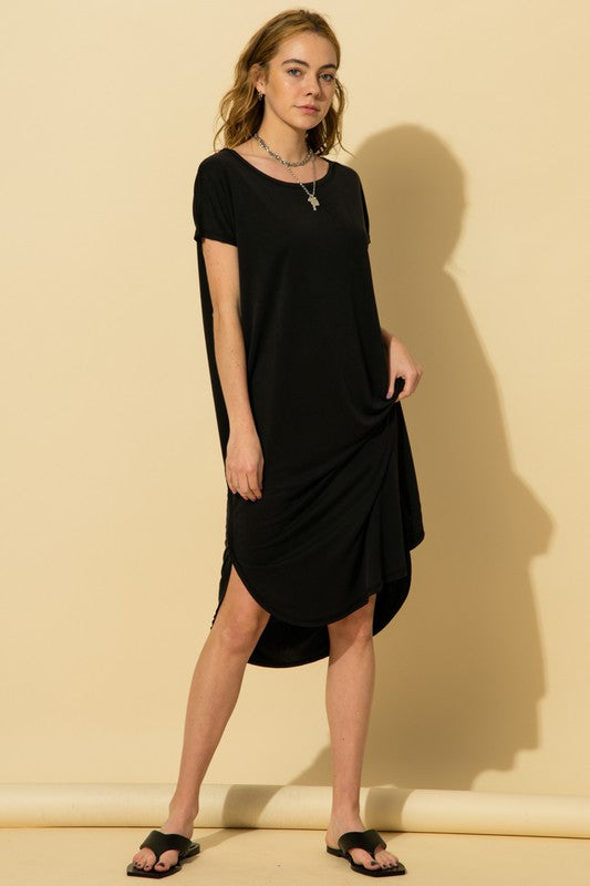 Ellie Short Sleeve Pocket Dress, Black