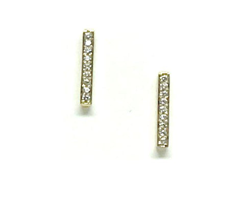 Gold Crystal Bar Studs