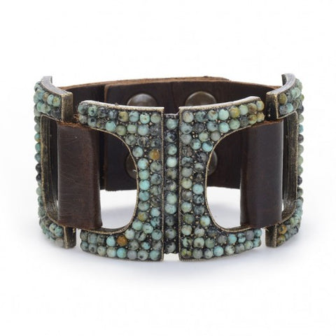 Vintage Brown Leather Cuff With African Turquoise