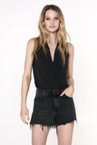 Grace Draped Surplice Tank, Black