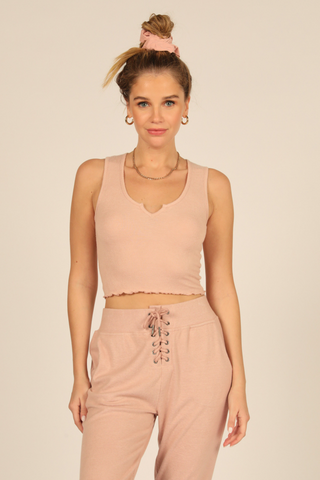 Blush Brushed Rib Crop Tank
