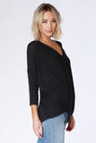 Lizbeth Twist Front Black V-Neck
