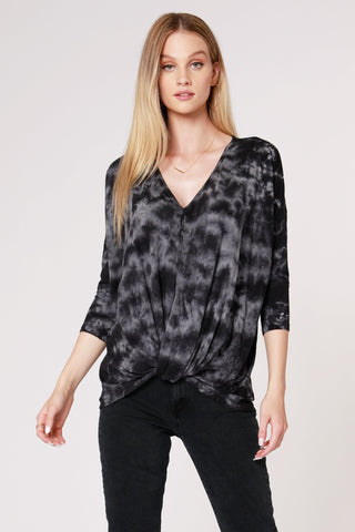 Millie Tie-Dye Knot Top, Grey/Black